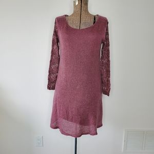Dusty pink Mohair dress with lace